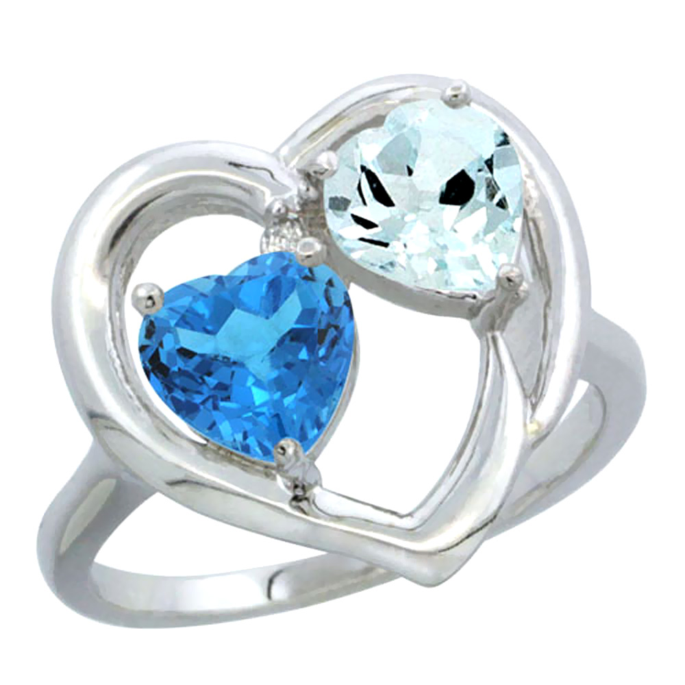 14K White Gold Diamond Two-stone Heart Ring 6mm Natural Swiss Blue Topaz & Aquamarine, sizes 5-10