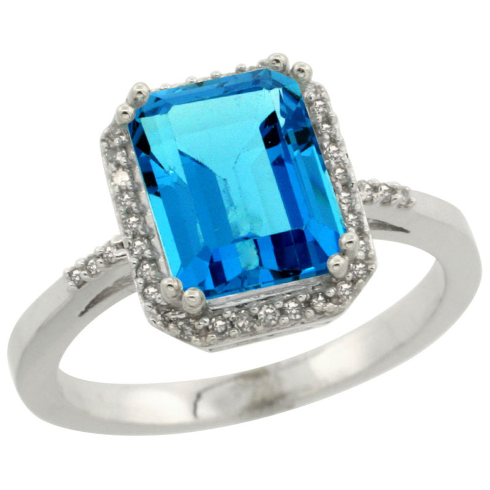 14K White Gold Diamond Natural Swiss Blue Topaz Ring Emerald-cut 9x7mm, sizes 5-10
