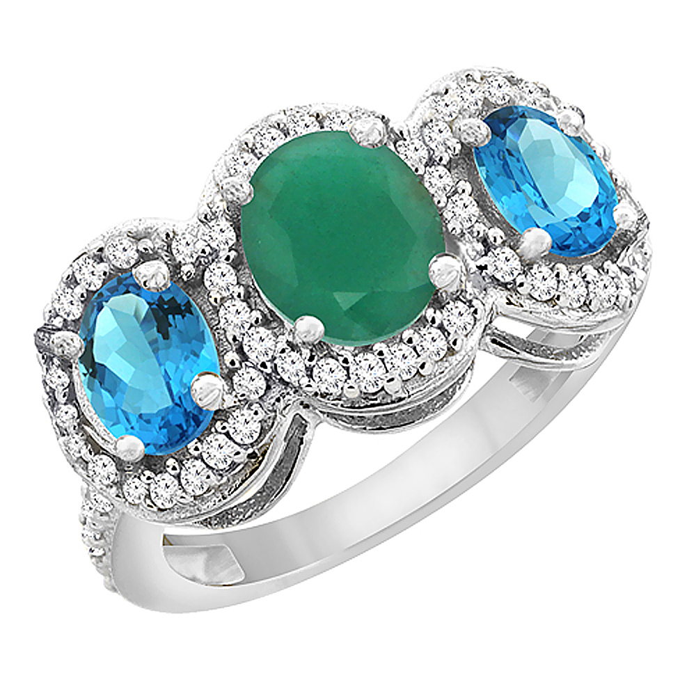 14K White Gold Natural Cabochon Emerald & Swiss Blue Topaz 3-Stone Ring Oval Diamond Accent, sizes 5 - 10