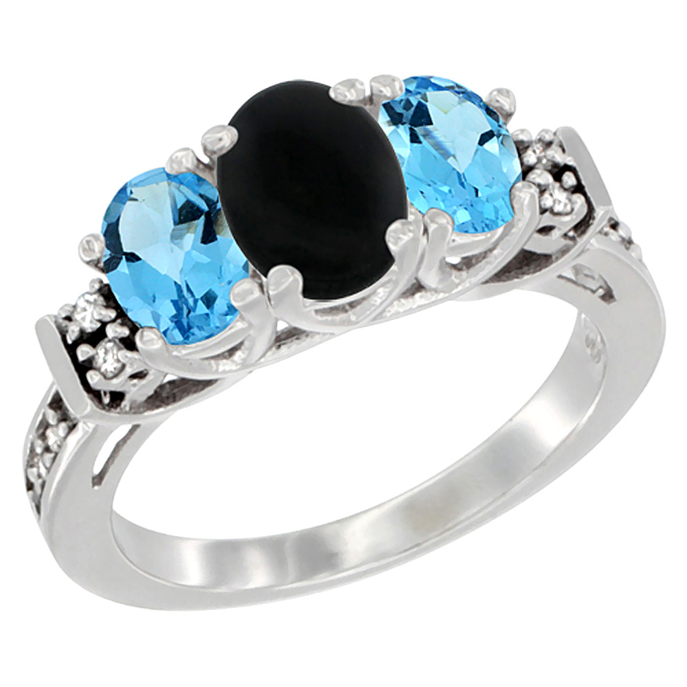 14K White Gold Natural Black Onyx & Swiss Blue Topaz Ring 3-Stone Oval Diamond Accent, sizes 5-10