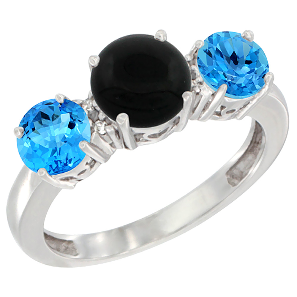 14K White Gold Round 3-Stone Natural Black Onyx Ring & Swiss Blue Topaz Sides Diamond Accent, sizes 5 - 10