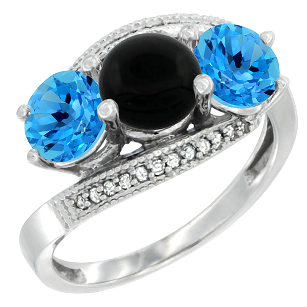 14K White Gold Natural Black Onyx & Swiss Blue Topaz Sides 3 stone Ring Round 6mm Diamond Accent, sizes 5 - 10