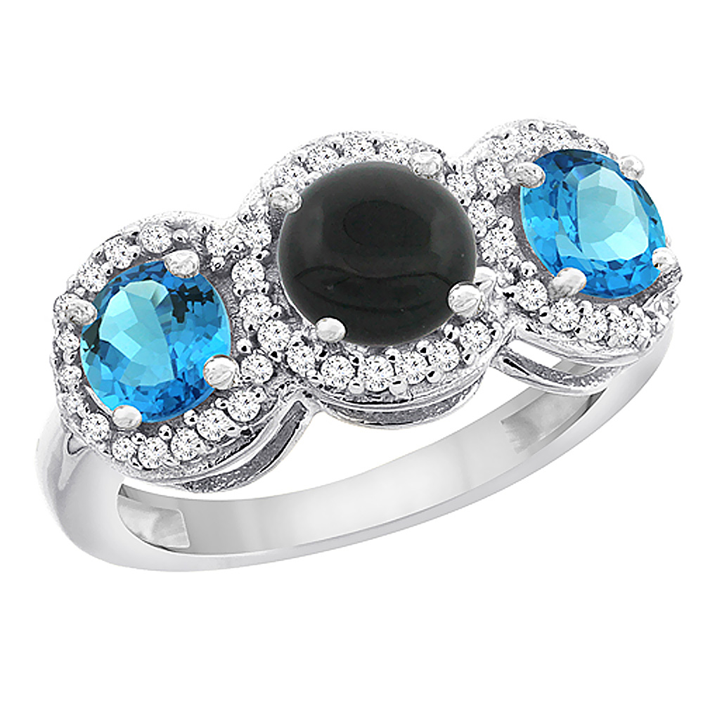 14K White Gold Natural Black Onyx & Swiss Blue Topaz Sides Round 3-stone Ring Diamond Accents, sizes 5 - 10