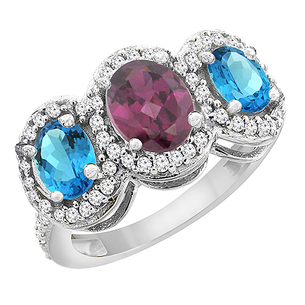 14K White Gold Natural Rhodolite & Swiss Blue Topaz 3-Stone Ring Oval Diamond Accent, sizes 5 - 10