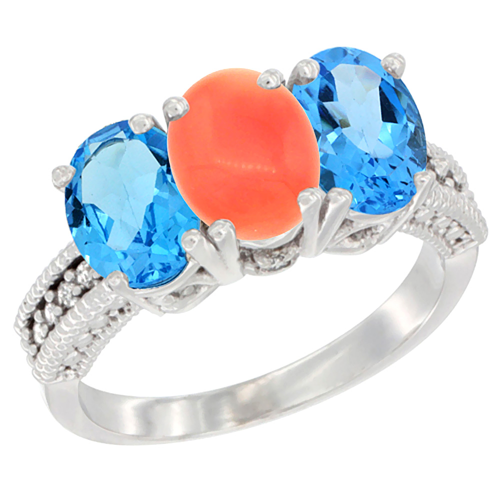 10K White Gold Natural Coral & Swiss Blue Topaz Sides Ring 3-Stone Oval 7x5 mm Diamond Accent, sizes 5 - 10