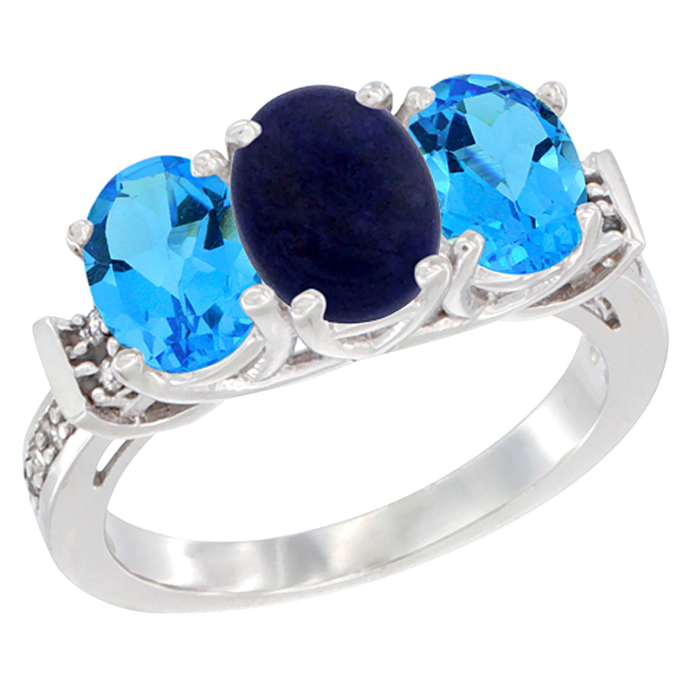 10K White Gold Natural Lapis & Swiss Blue Topaz Sides Ring 3-Stone Oval Diamond Accent, sizes 5 - 10