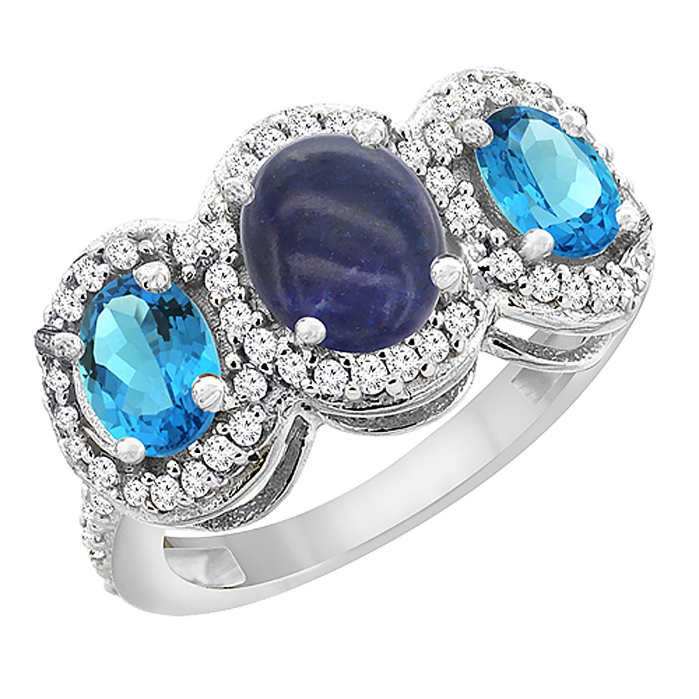 14K White Gold Natural Lapis & Swiss Blue Topaz 3-Stone Ring Oval Diamond Accent, sizes 5 - 10