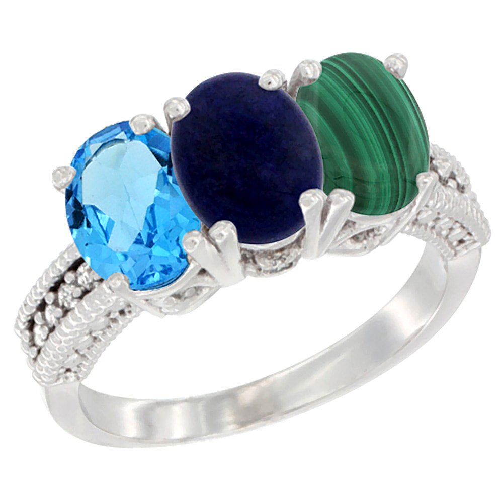 10K White Gold Natural Swiss Blue Topaz, Lapis & Malachite Ring 3-Stone Oval 7x5 mm Diamond Accent, sizes 5 - 10