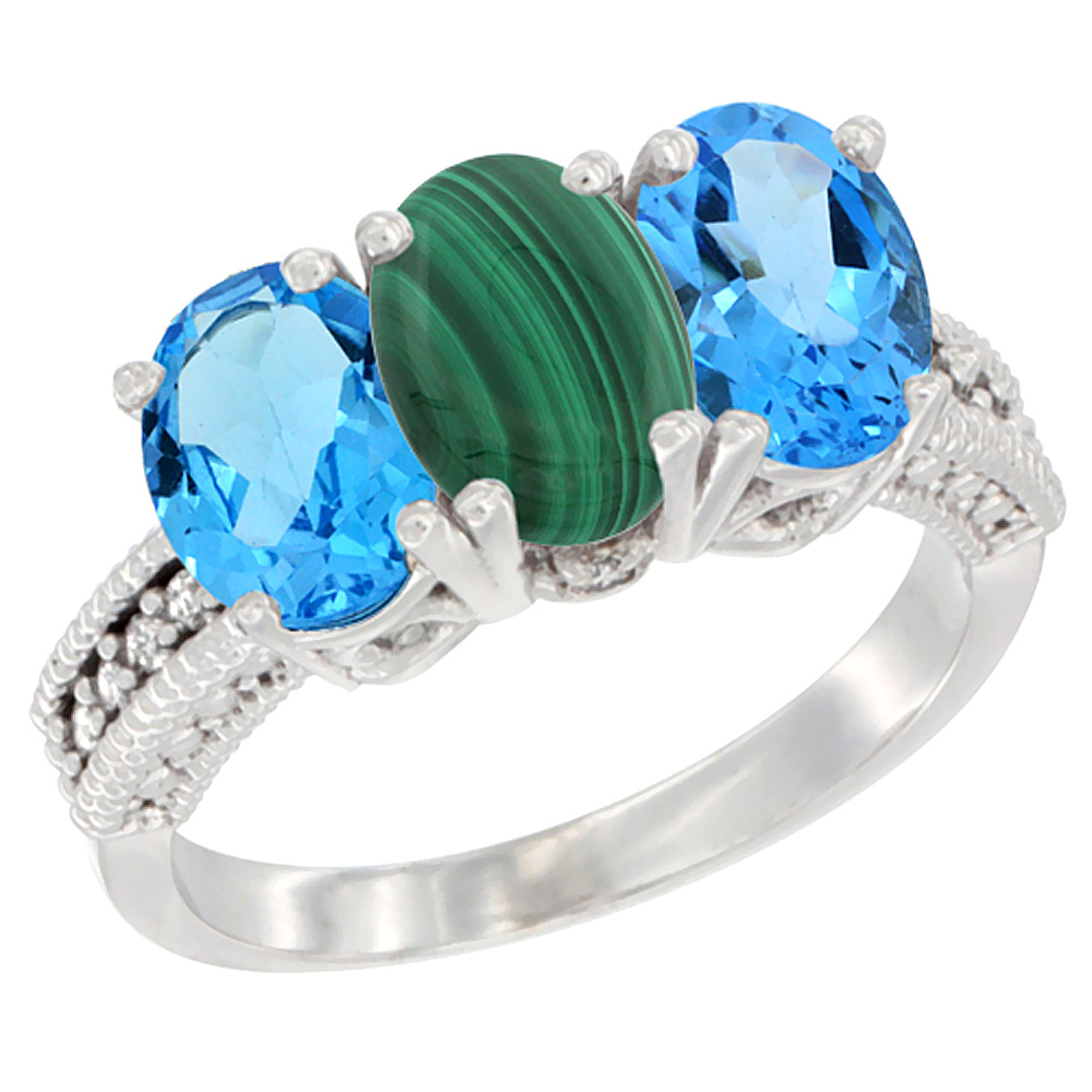 14K White Gold Natural Malachite & Swiss Blue Topaz Sides Ring 3-Stone 7x5 mm Oval Diamond Accent, sizes 5 - 10