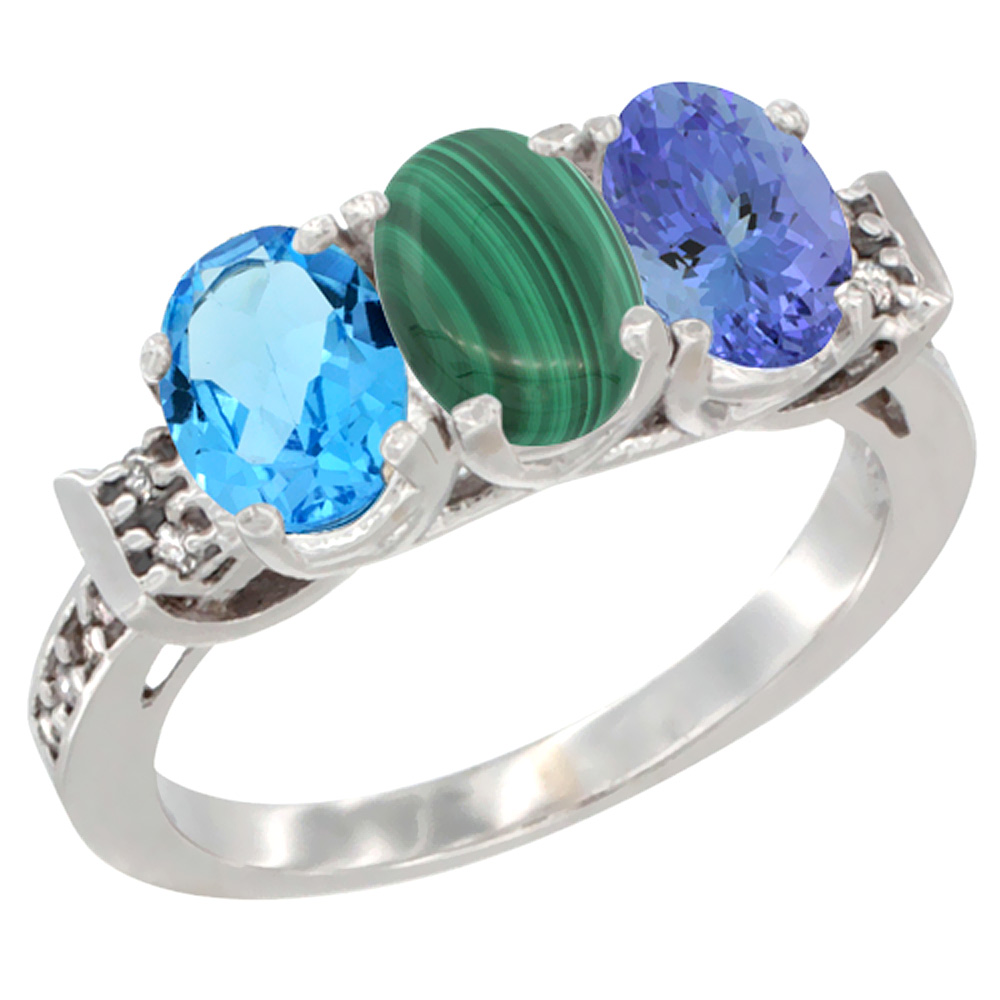 14K White Gold Natural Swiss Blue Topaz, Malachite & Tanzanite Ring 3-Stone 7x5 mm Oval Diamond Accent, sizes 5 - 10