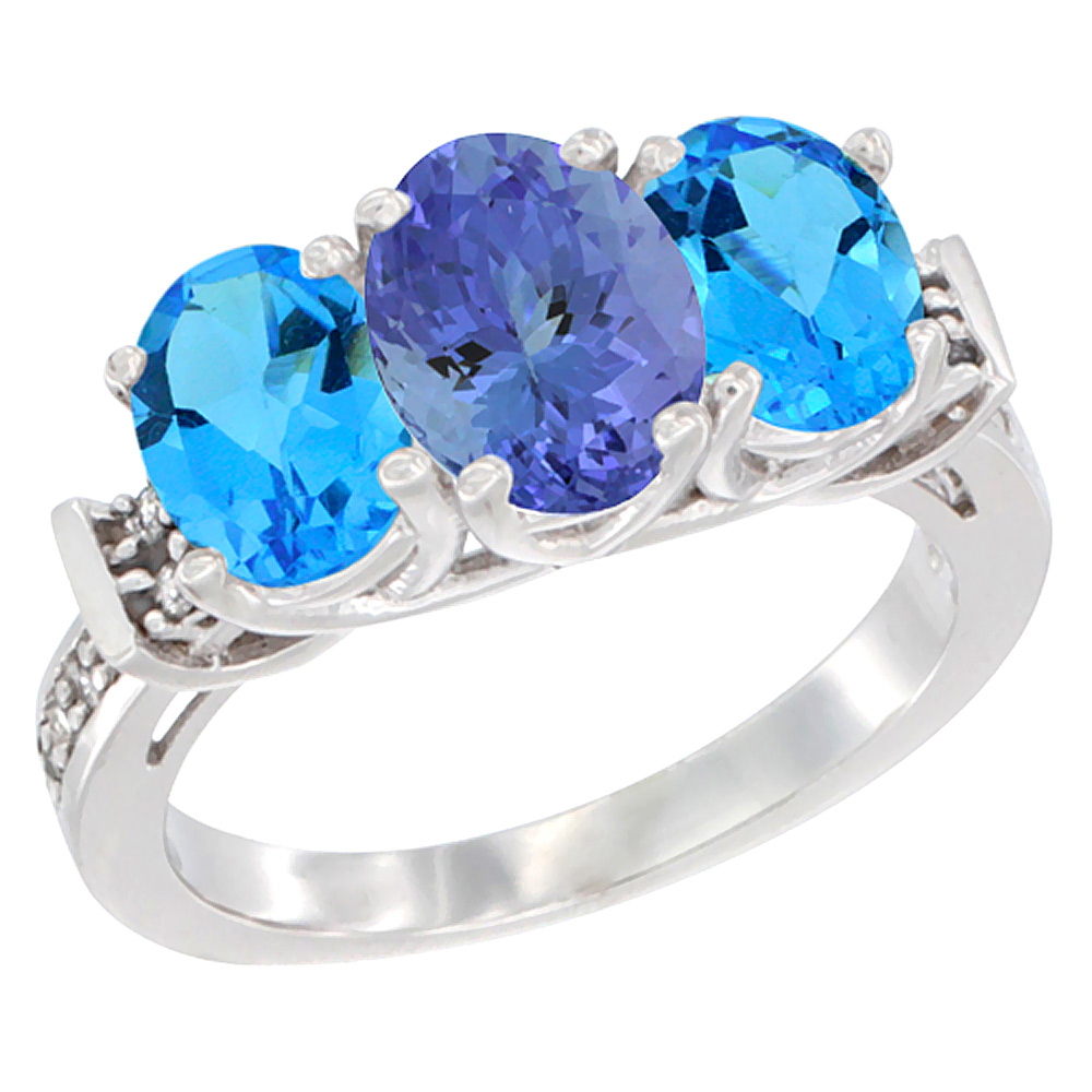 14K White Gold Natural Tanzanite & Swiss Blue Topaz Sides Ring 3-Stone Oval Diamond Accent, sizes 5 - 10