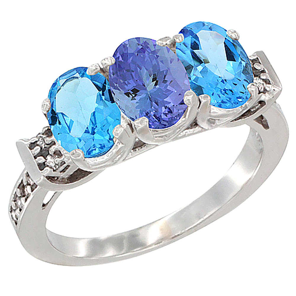 10K White Gold Natural Tanzanite & Swiss Blue Topaz Sides Ring 3-Stone Oval 7x5 mm Diamond Accent, sizes 5 - 10