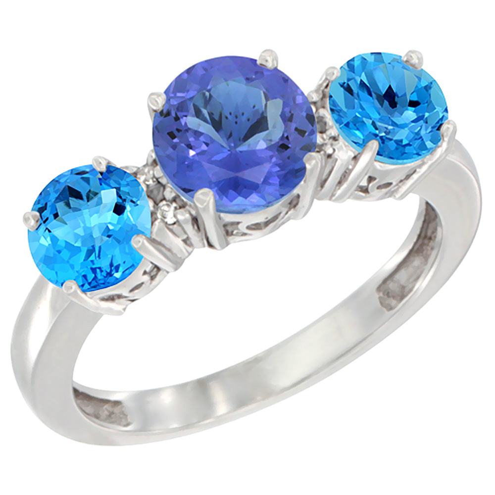 10K White Gold Round 3-Stone Natural Tanzanite Ring & Swiss Blue Topaz Sides Diamond Accent, sizes 5 - 10