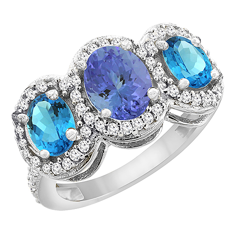 14K White Gold Natural Tanzanite & Swiss Blue Topaz 3-Stone Ring Oval Diamond Accent, sizes 5 - 10