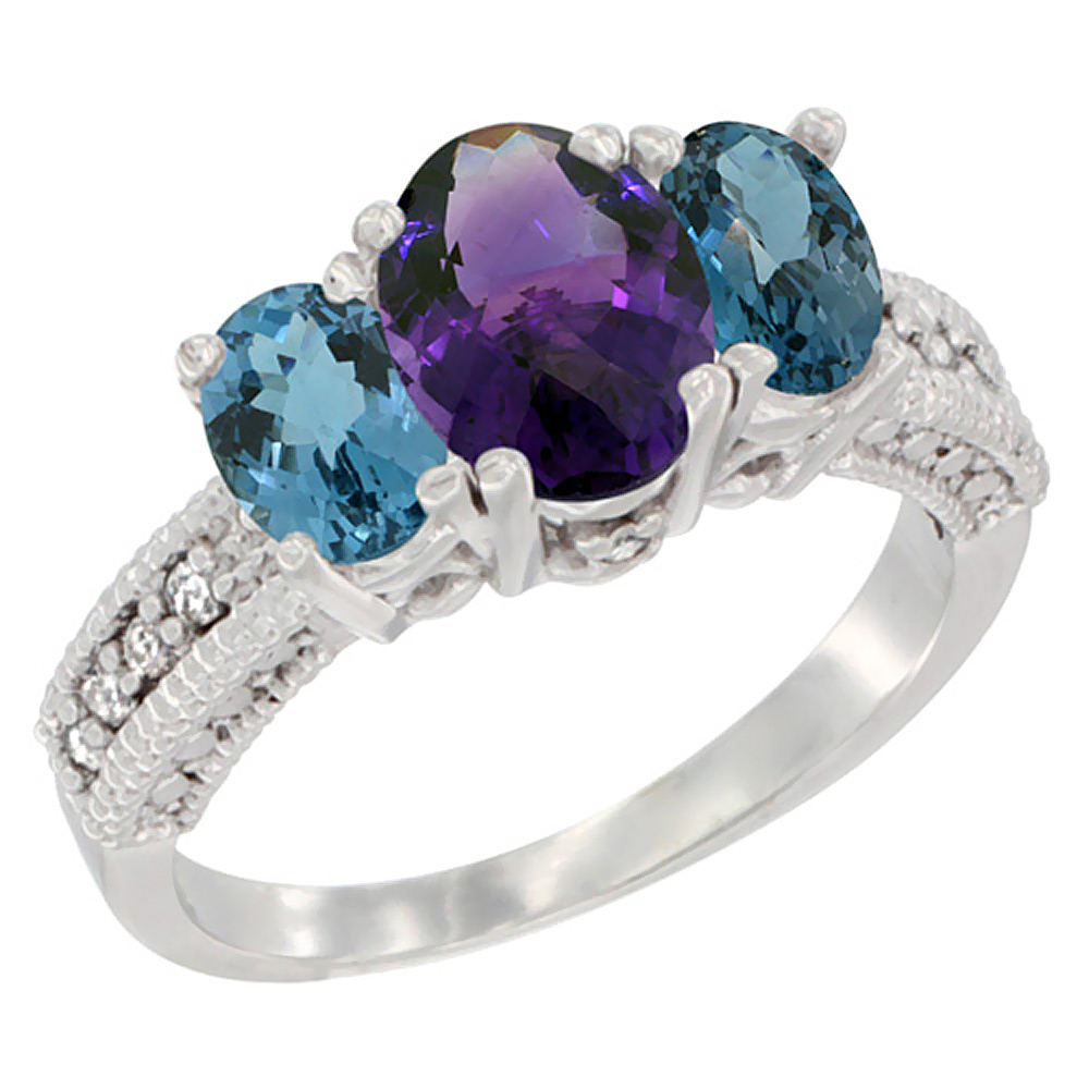 14K White Gold Diamond Natural Amethyst Ring Oval 3-stone with London Blue Topaz, sizes 5 - 10