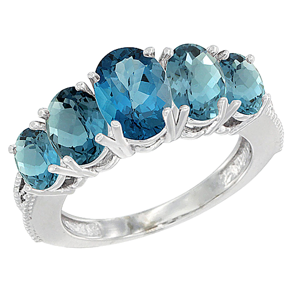 14K White Gold Diamond Natural London Blue Topaz Ring 5-stone Oval 8x6 Ctr,7x5,6x4 sides, sizes 5 - 10