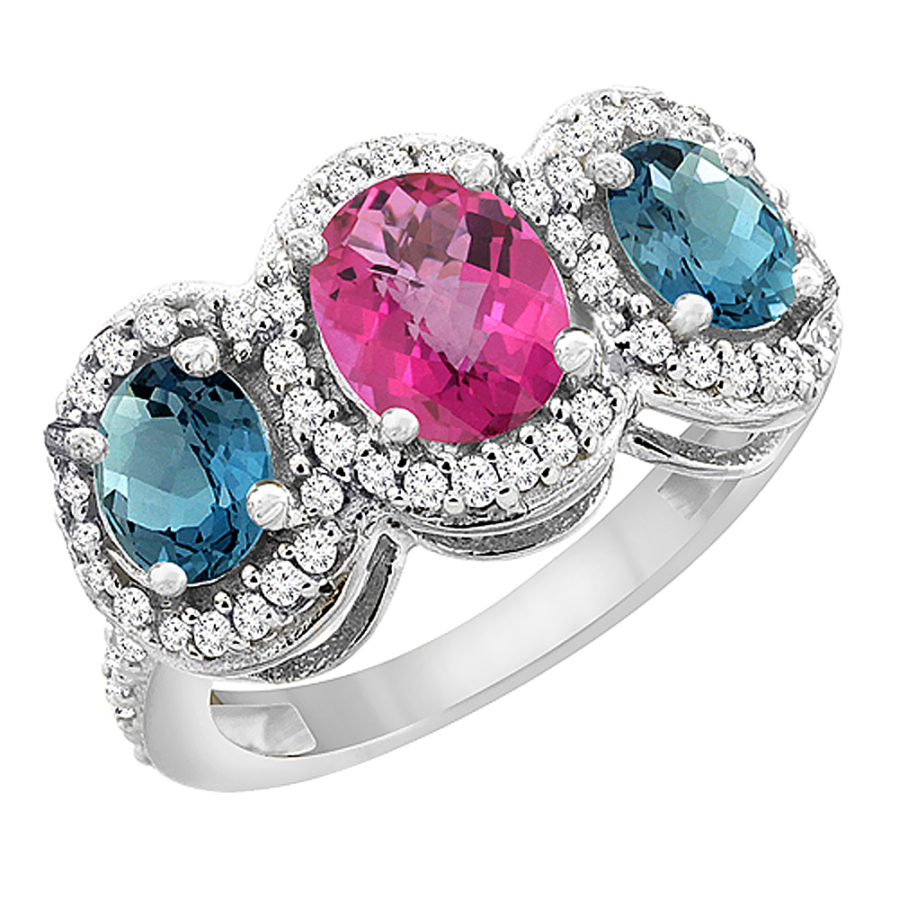 10K White Gold Natural Pink Sapphire & London Blue Topaz 3-Stone Ring Oval Diamond Accent, sizes 5 - 10