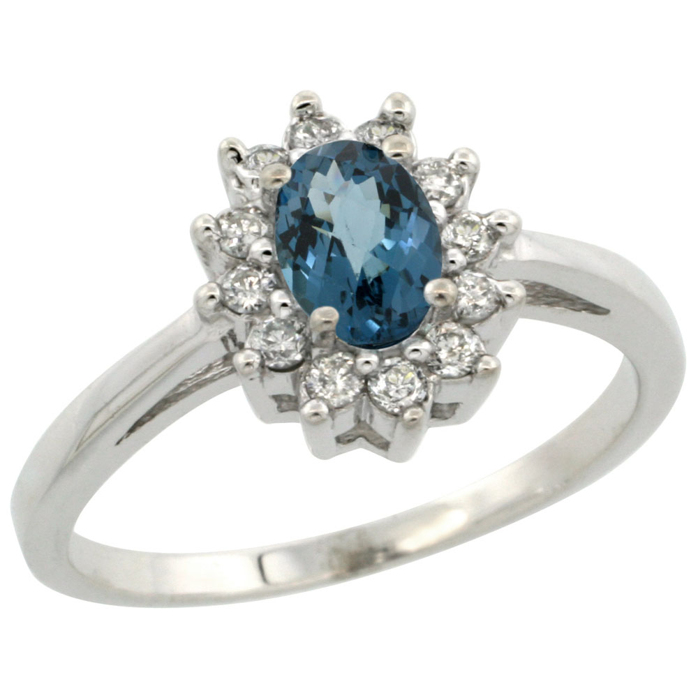 14K White Gold Natural London Blue Topaz Flower Diamond Halo Ring Oval 6x4 mm, sizes 5 10