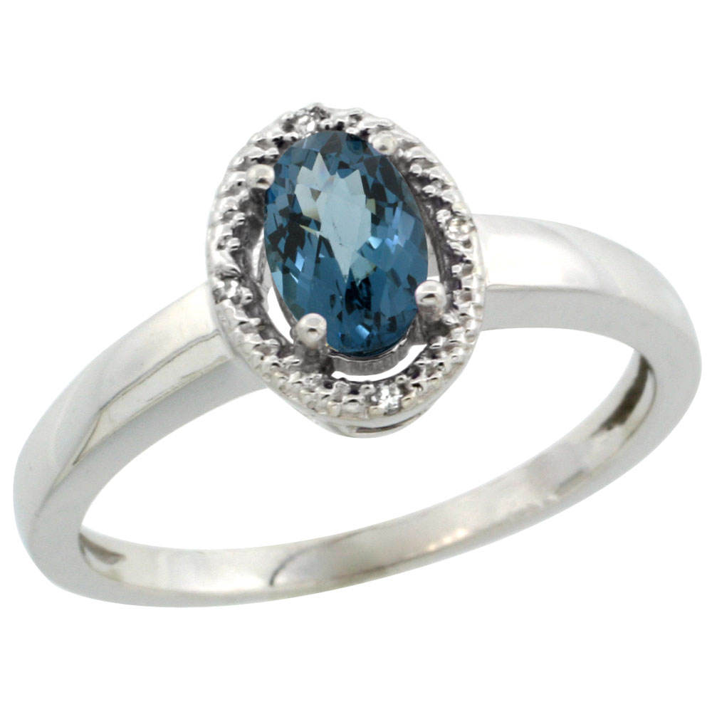 14K White Gold Diamond Halo Natural London Blue Topaz Engagement Ring Oval 6X4 mm, sizes 5-10