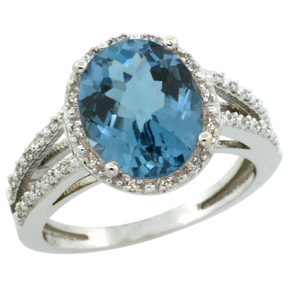10K White Gold Diamond Natural London Blue Topaz Ring Oval 11x9mm, sizes 5-10