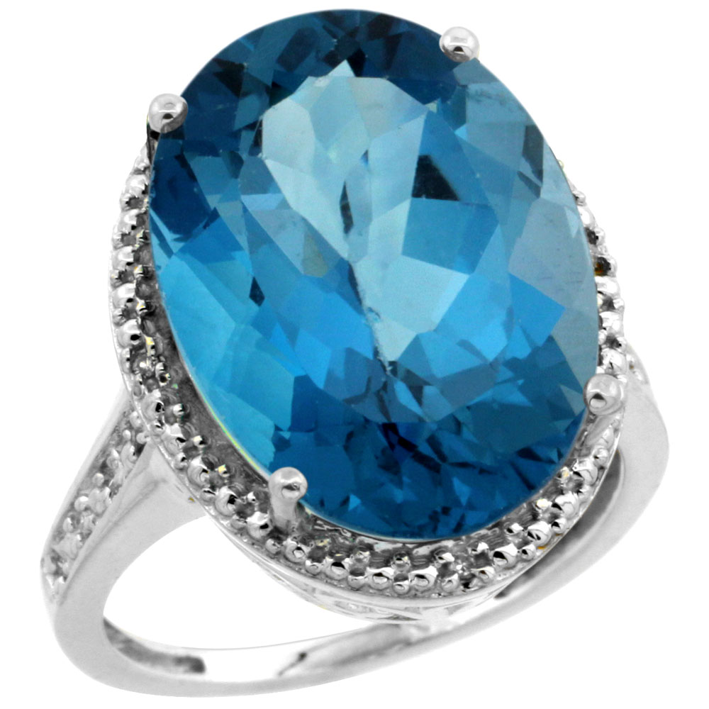 14K White Gold Diamond Natural London Blue Topaz Ring Oval 18x13mm, sizes 5-10