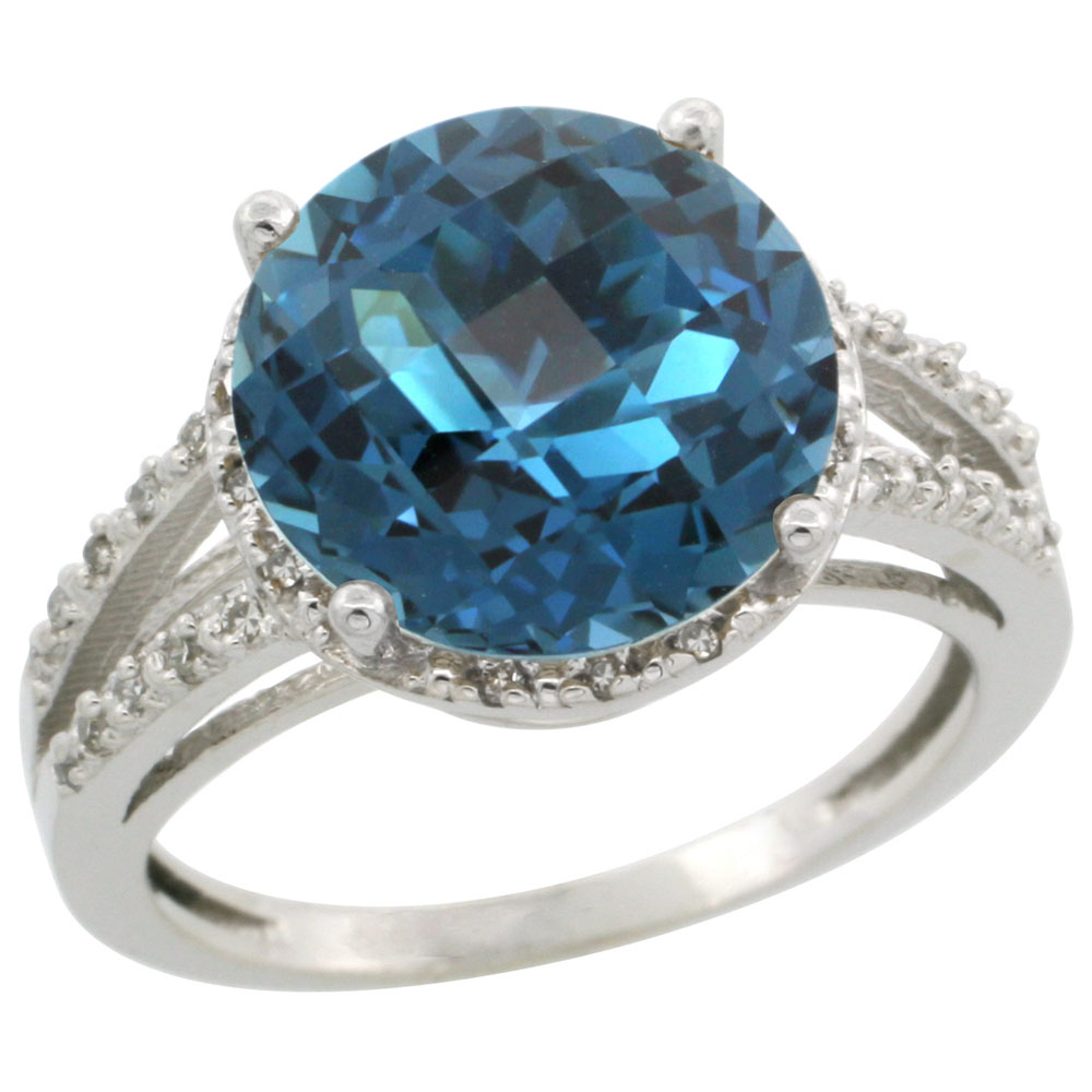 14K White Gold Diamond Natural London Blue Topaz Ring Round 11mm, sizes 5-10