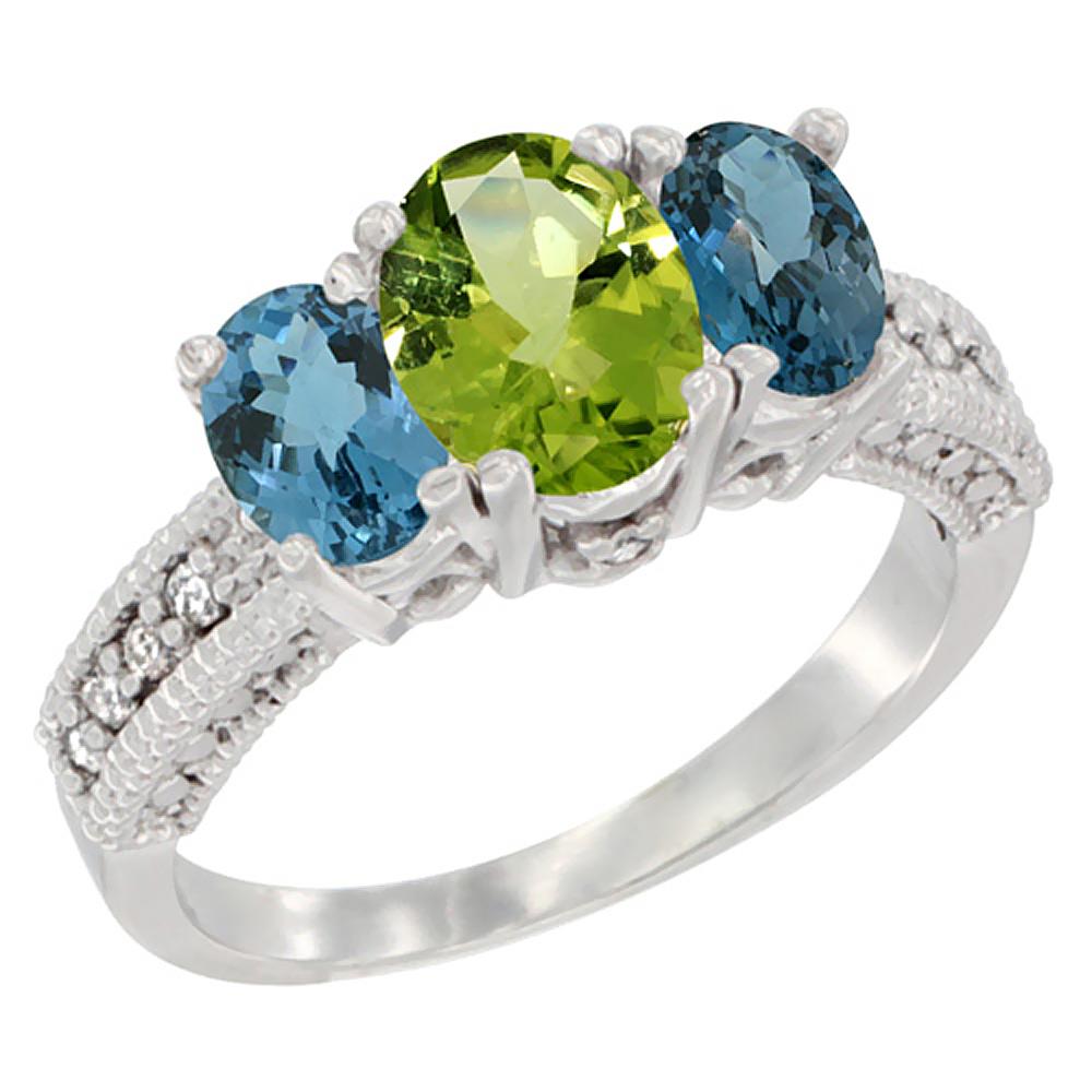 10K White Gold Diamond Natural Peridot Ring Oval 3-stone with London Blue Topaz, sizes 5 - 10