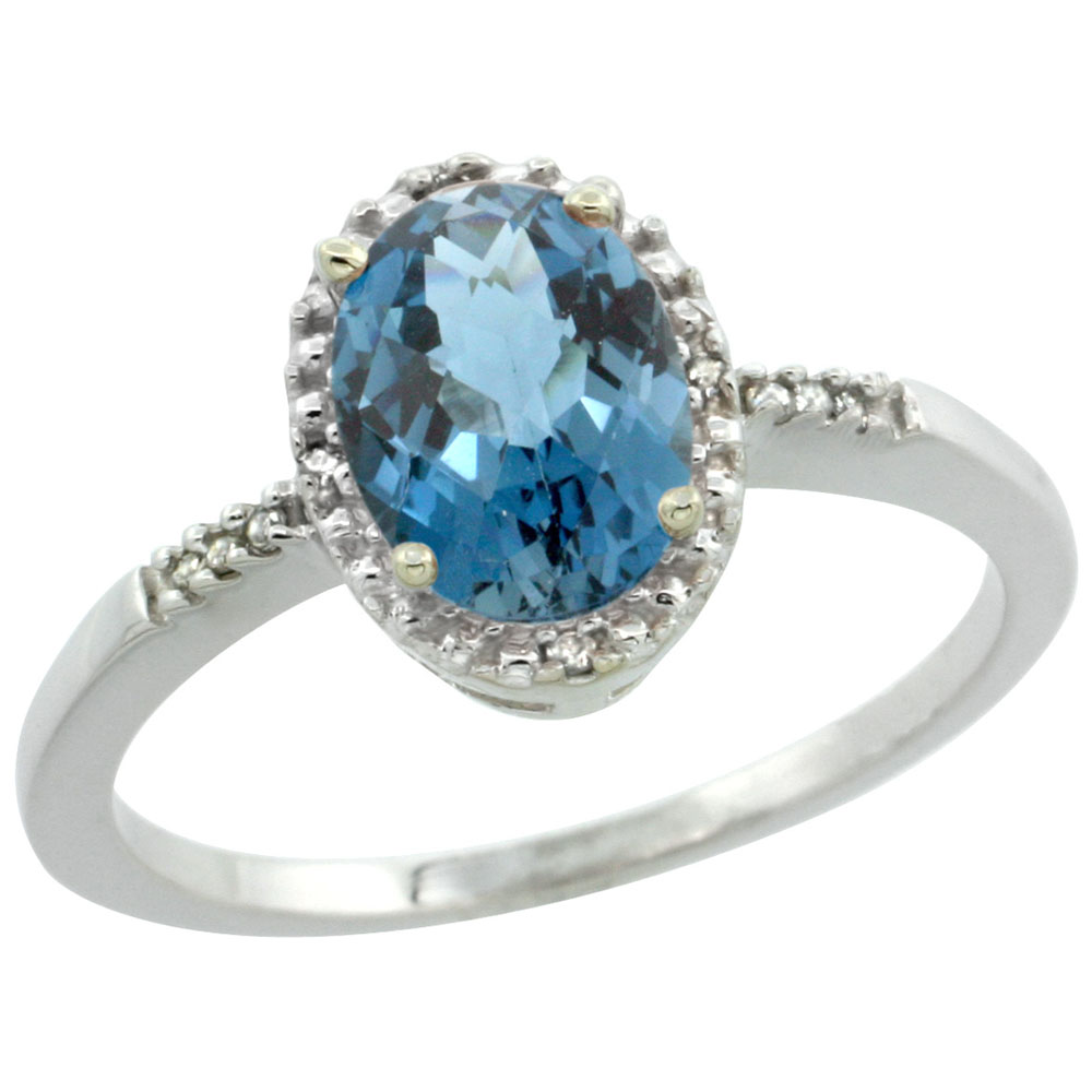 14K White Gold Diamond Natural London Blue Topaz Ring Oval 8x6mm, sizes 5-10