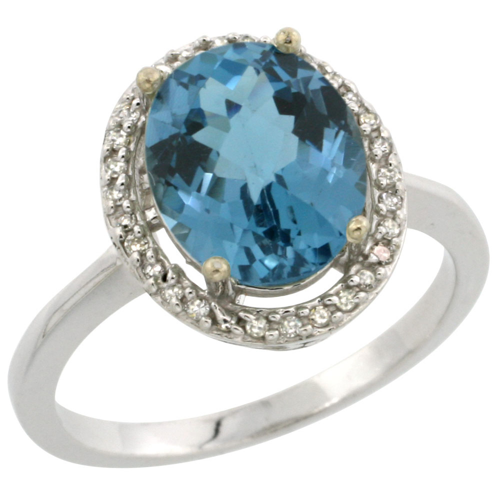 14K White Gold Diamond Natural London Blue Topaz Engagement Ring Oval 10x8mm, sizes 5-10