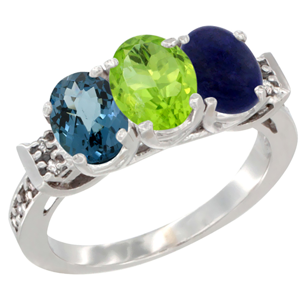 14K White Gold Natural London Blue Topaz, Peridot & Lapis Ring 3-Stone 7x5 mm Oval Diamond Accent, sizes 5 - 10