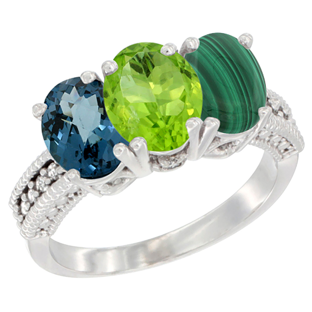 14K White Gold Natural London Blue Topaz, Peridot & Malachite Ring 3-Stone 7x5 mm Oval Diamond Accent, sizes 5 - 10