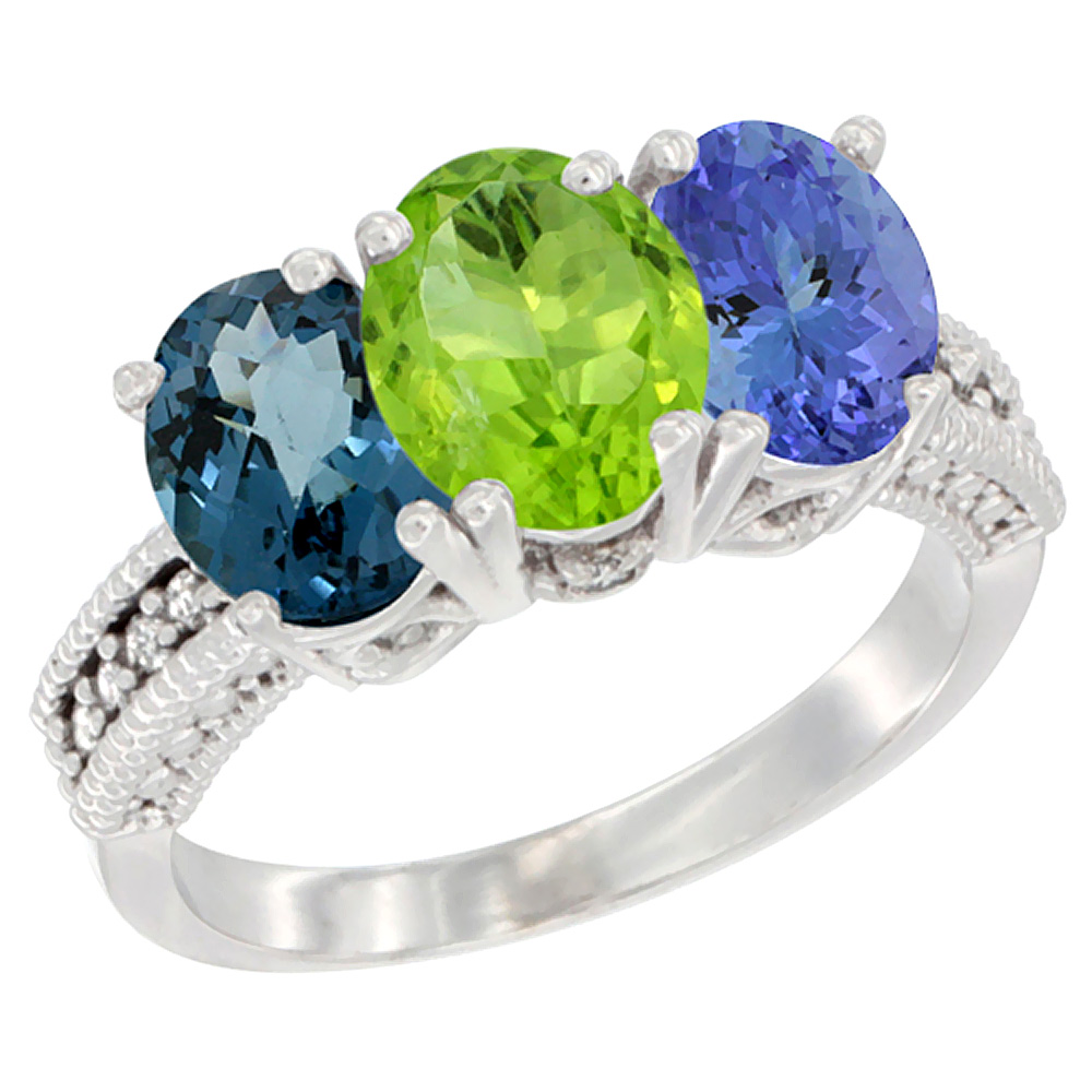 14K White Gold Natural London Blue Topaz, Peridot & Tanzanite Ring 3-Stone 7x5 mm Oval Diamond Accent, sizes 5 - 10