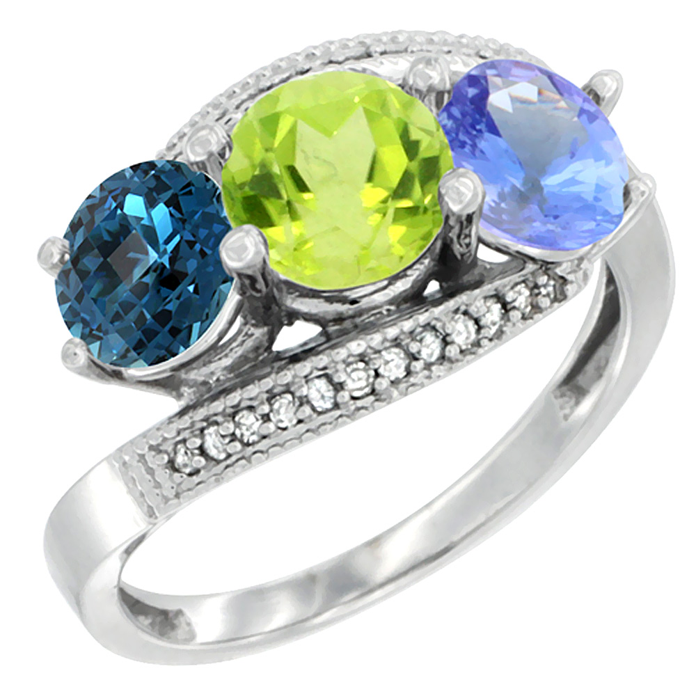 14K White Gold Natural London Blue Topaz, Peridot & Tanzanite 3 stone Ring Round 6mm Diamond Accent, sizes 5 - 10