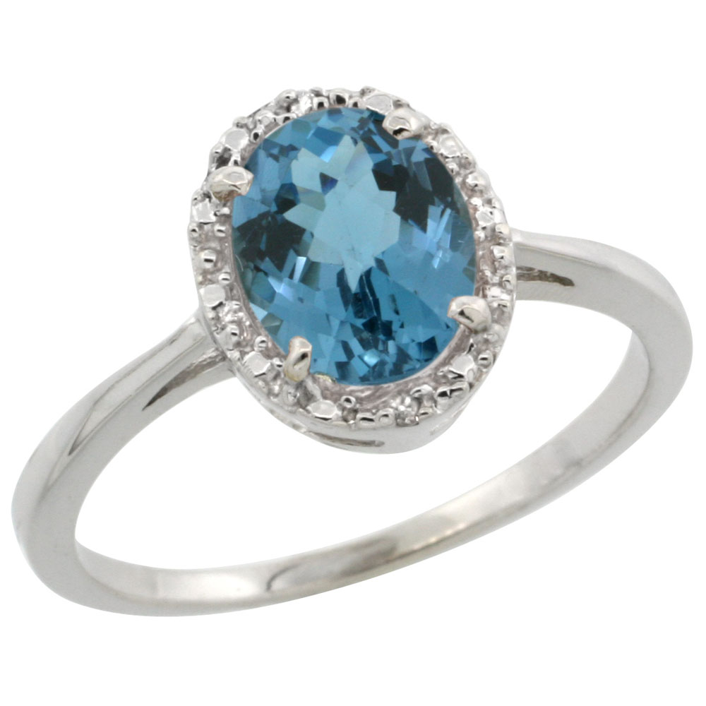 10k White Gold Natural London Blue Topaz Ring Oval 8x6 mm Diamond Halo, sizes 5-10
