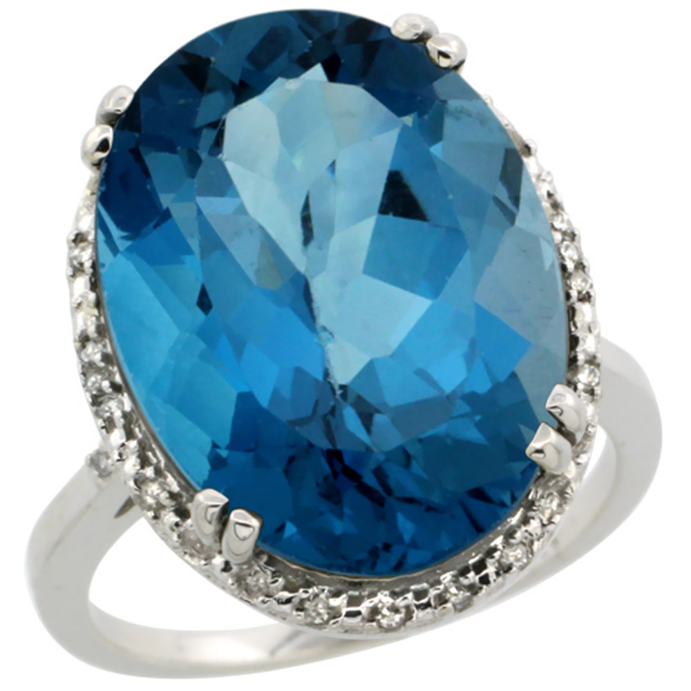 10k White Gold Natural London Blue Topaz Ring Large Oval 18x13mm Diamond Halo, sizes 5-10