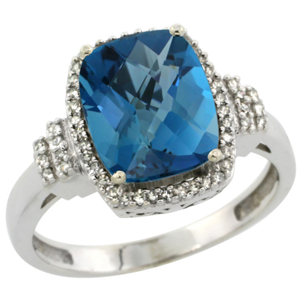 14K White Gold Natural London Blue Topaz Ring Cushion-cut 9x7mm Diamond Halo, sizes 5-10
