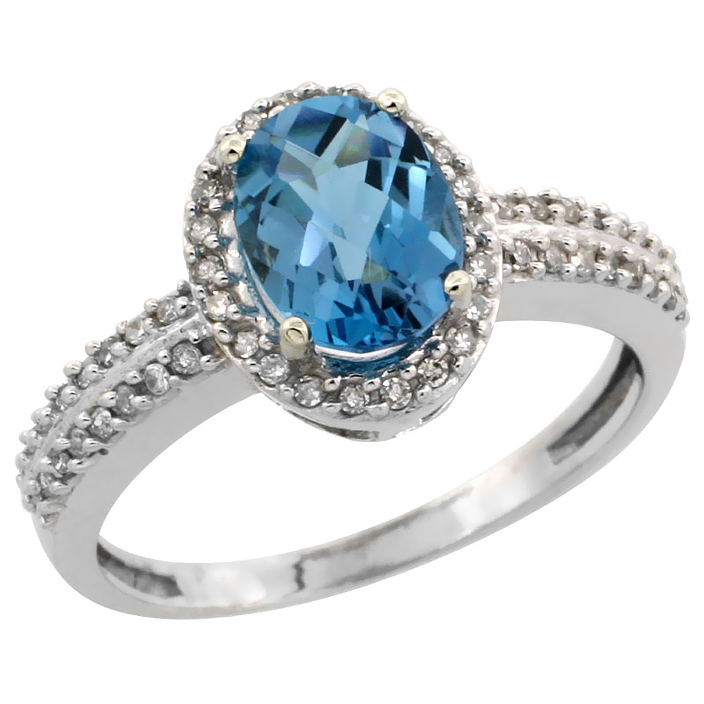 14K White Gold Natural London Blue Topaz Ring Oval 8x6mm Diamond Halo, sizes 5-10