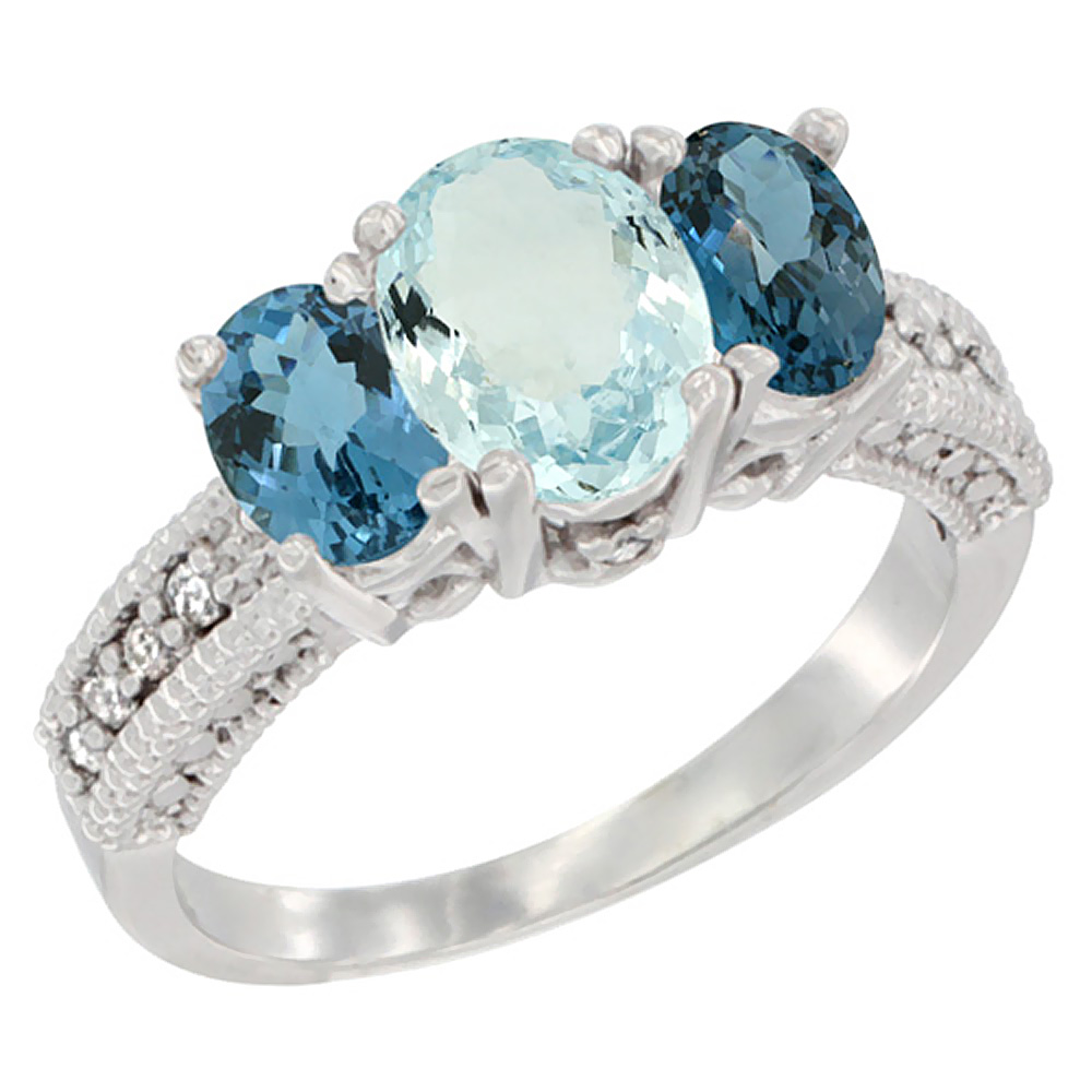 14k Yellow Gold Ladies Oval Natural Aquamarine 3-Stone Ring with London Blue Topaz Sides Diamond Accent