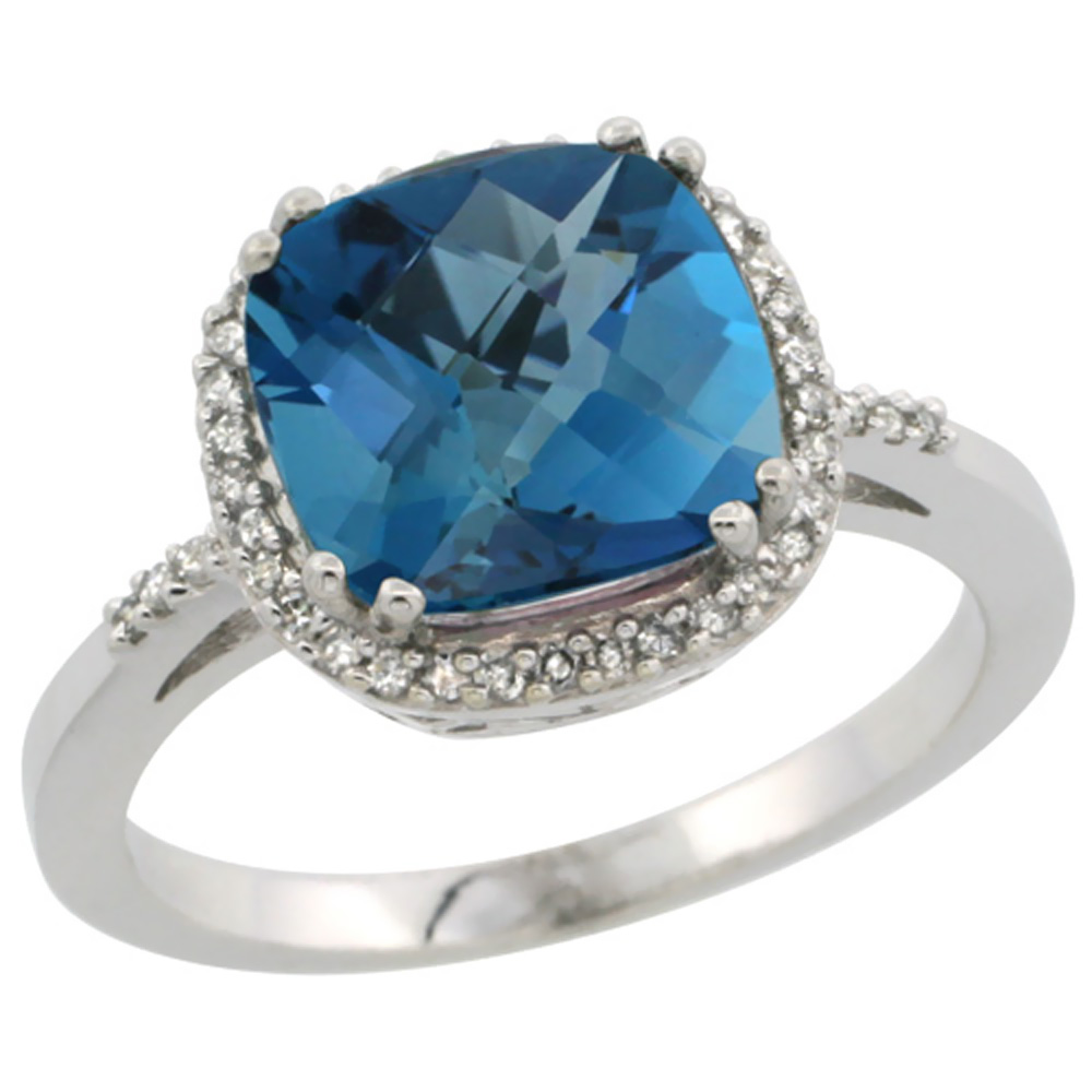14K White Gold Diamond Natural London Blue Topaz Ring Cushion-cut 9x9mm, sizes 5-10