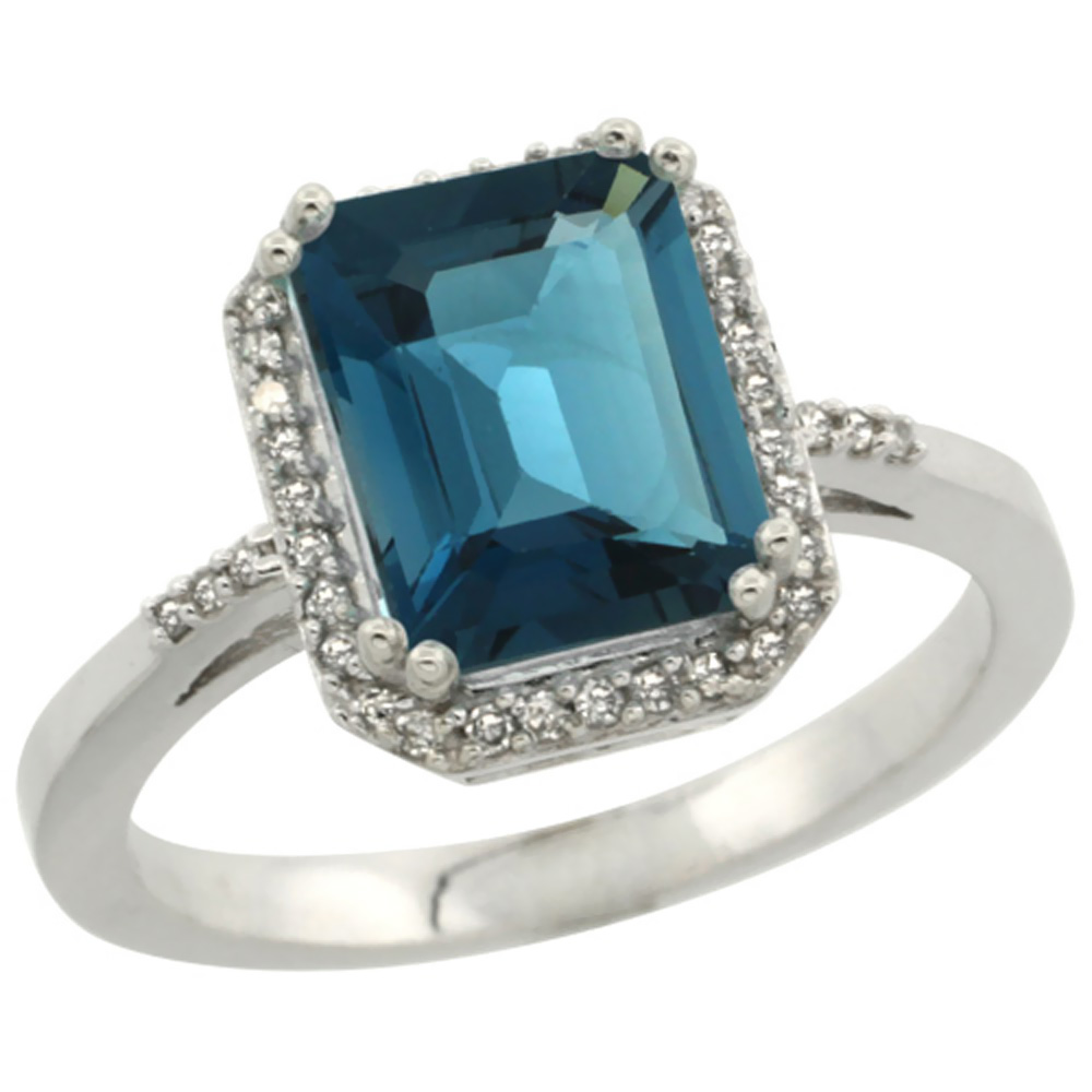 14K White Gold Diamond Natural London Blue Topaz Ring Emerald-cut 9x7mm, sizes 5-10