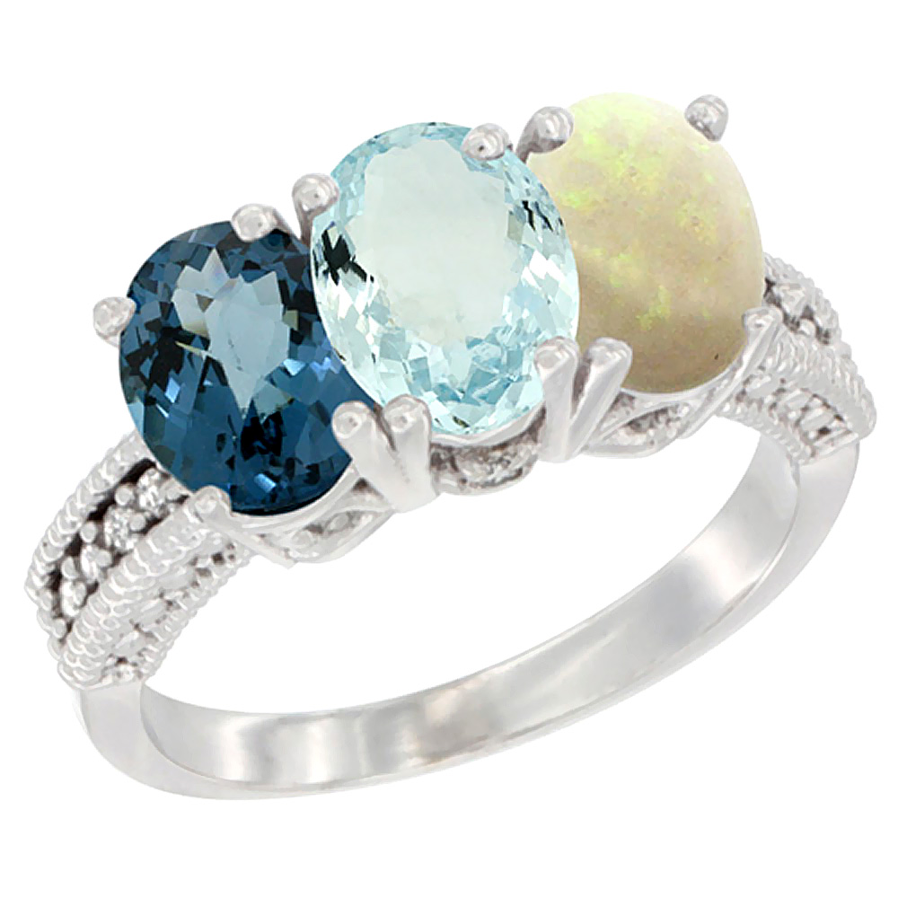 14K White Gold Natural London Blue Topaz, Aquamarine & Opal Ring 3-Stone 7x5 mm Oval Diamond Accent, sizes 5 - 10