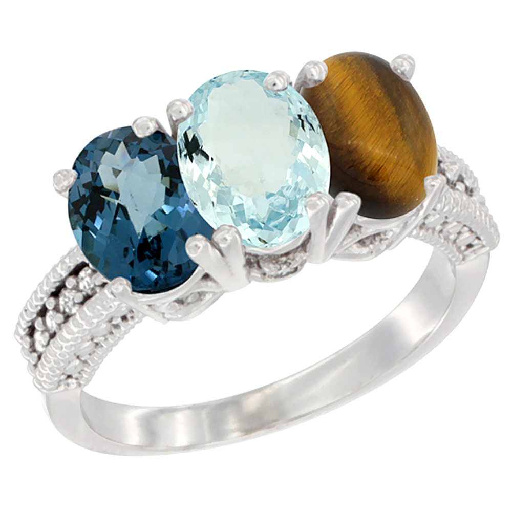 14K White Gold Natural London Blue Topaz, Aquamarine & Tiger Eye Ring 3-Stone 7x5 mm Oval Diamond Accent, sizes 5 - 10