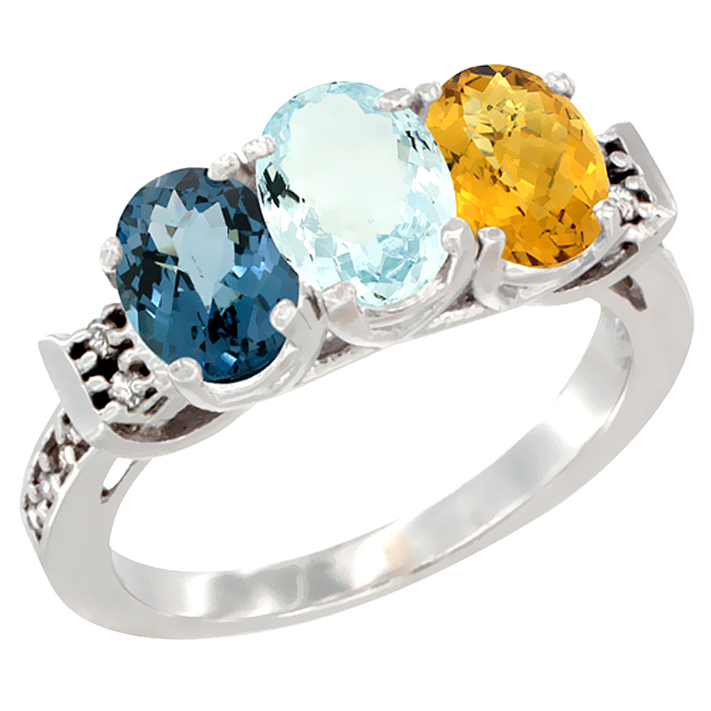 14K White Gold Natural London Blue Topaz, Aquamarine & Whisky Quartz Ring 3-Stone 7x5 mm Oval Diamond Accent, sizes 5 - 10