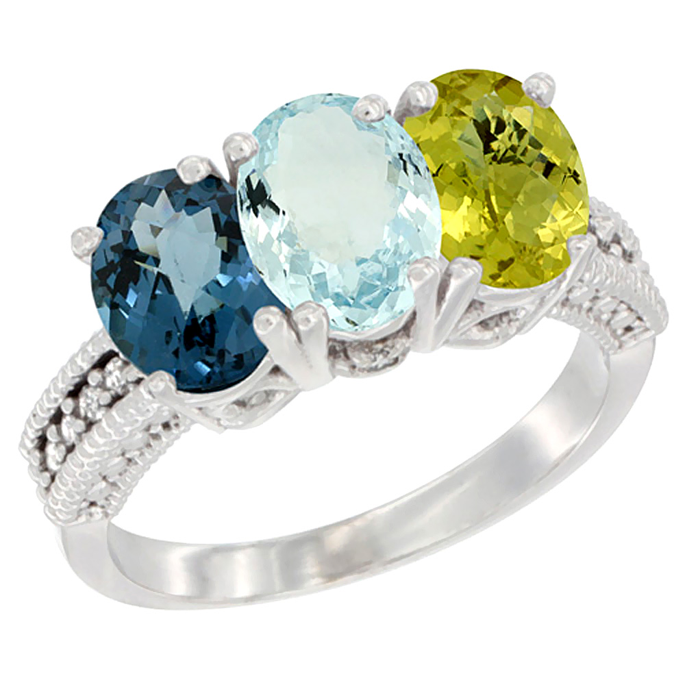 14K White Gold Natural London Blue Topaz, Aquamarine & Lemon Quartz Ring 3-Stone 7x5 mm Oval Diamond Accent, sizes 5 - 10