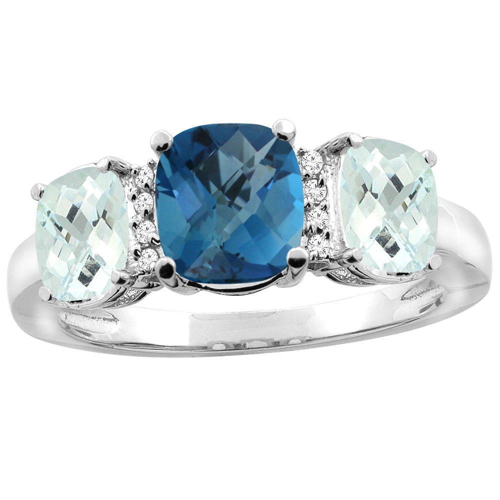 14K White Gold Natural London Blue Topaz & Aquamarine 3-stone Ring Cushion 8x6mm Diamond Accent, sizes 5 - 10