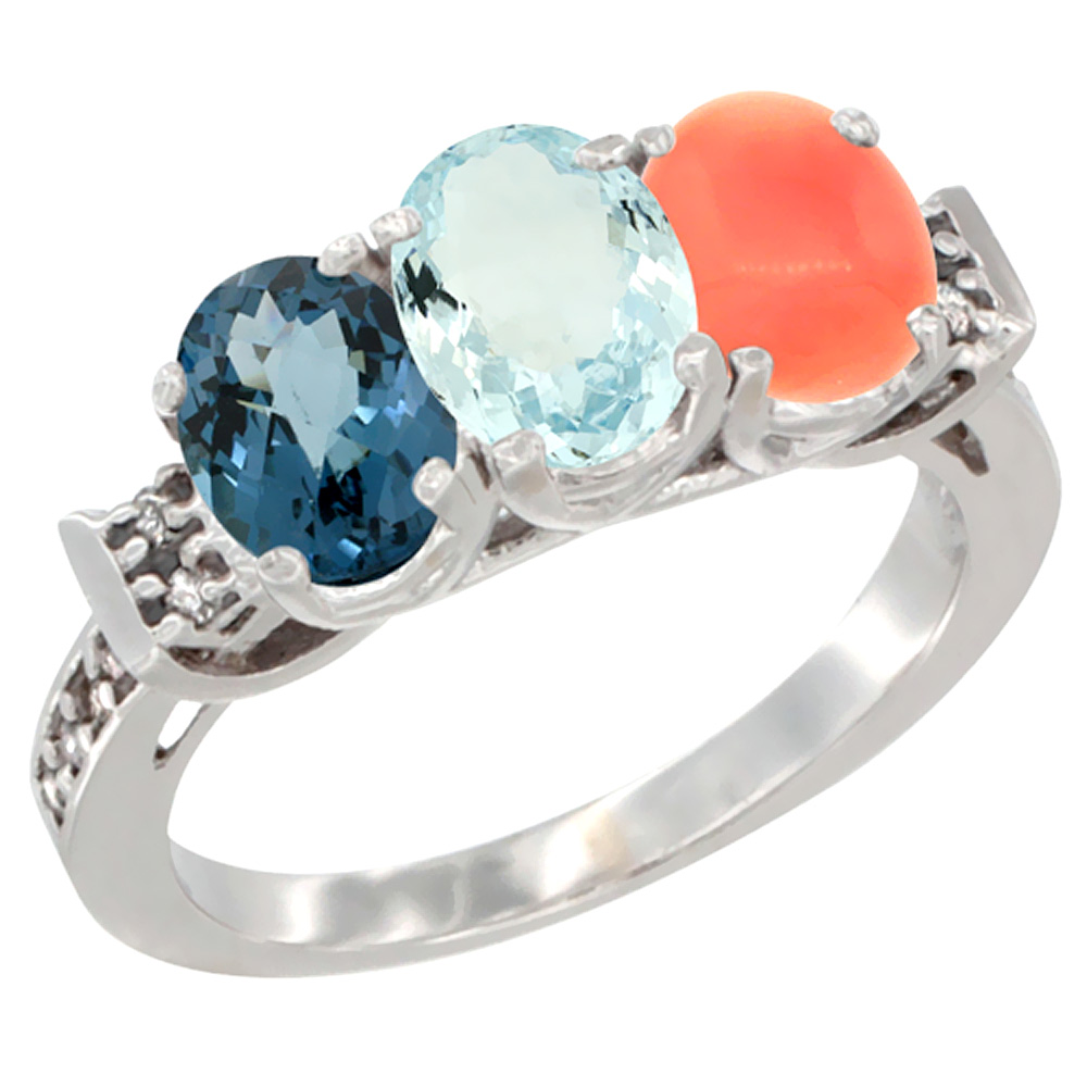 14K White Gold Natural London Blue Topaz, Aquamarine & Coral Ring 3-Stone 7x5 mm Oval Diamond Accent, sizes 5 - 10