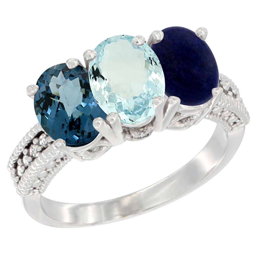 14K White Gold Natural London Blue Topaz, Aquamarine & Lapis Ring 3-Stone 7x5 mm Oval Diamond Accent, sizes 5 - 10