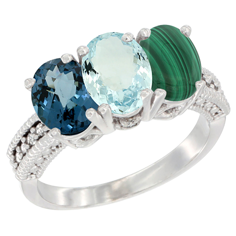 14K White Gold Natural London Blue Topaz, Aquamarine & Malachite Ring 3-Stone 7x5 mm Oval Diamond Accent, sizes 5 - 10