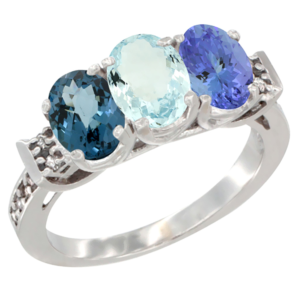 14K White Gold Natural London Blue Topaz, Aquamarine & Tanzanite Ring 3-Stone 7x5 mm Oval Diamond Accent, sizes 5 - 10