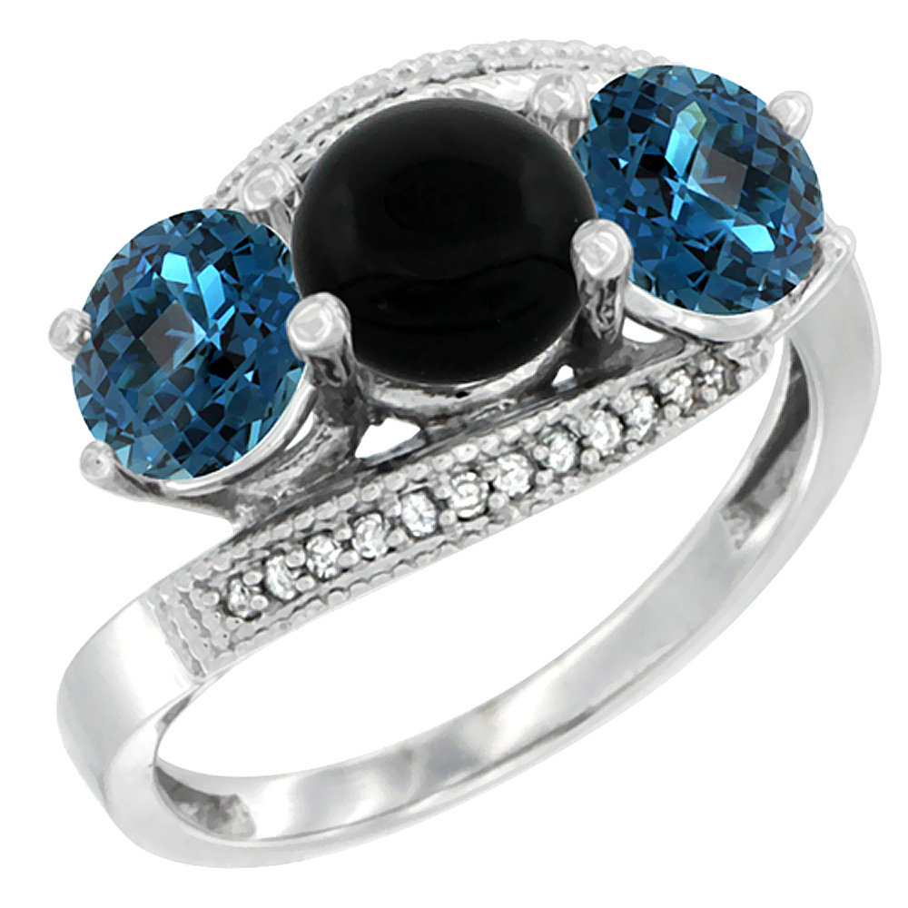 10K White Gold Natural Black Onyx & London Blue Topaz Sides 3 stone Ring Round 6mm Diamond Accent, sizes 5 - 10